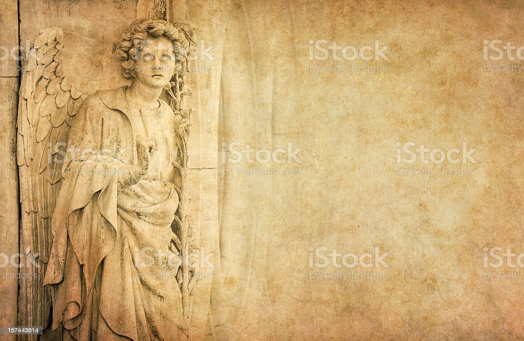 angel on old vintage paper stock photo