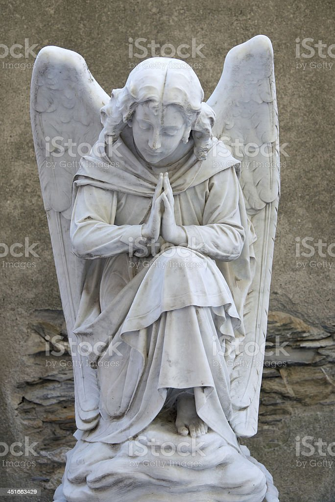 Angel on tombstone  old cemetery royalty-free stock photo