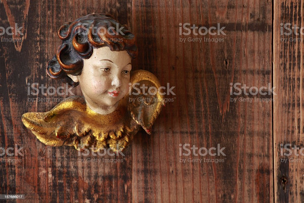 angel on wooden background stock photo
