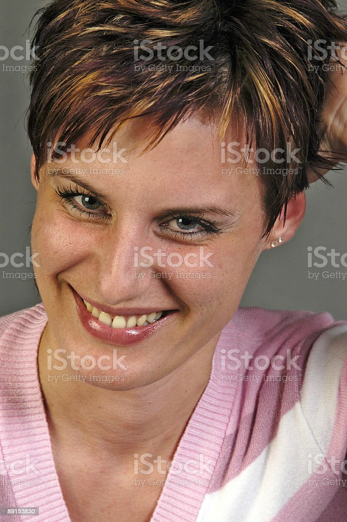 Angel or devil - smiling and planted woman royalty-free stock photo
