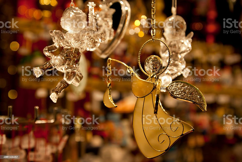 Angel Ornaments at Christmas Market in Nuremberg, Germany. stock photo