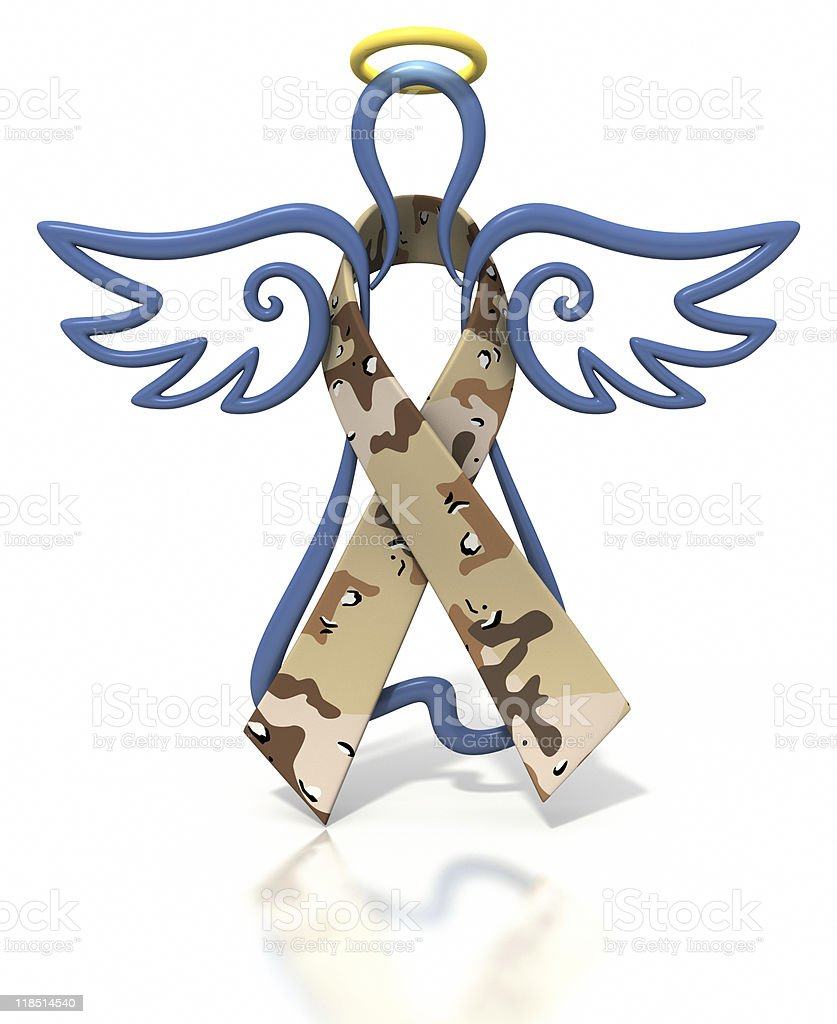 Angel outline desert camouflage ribbon stock photo