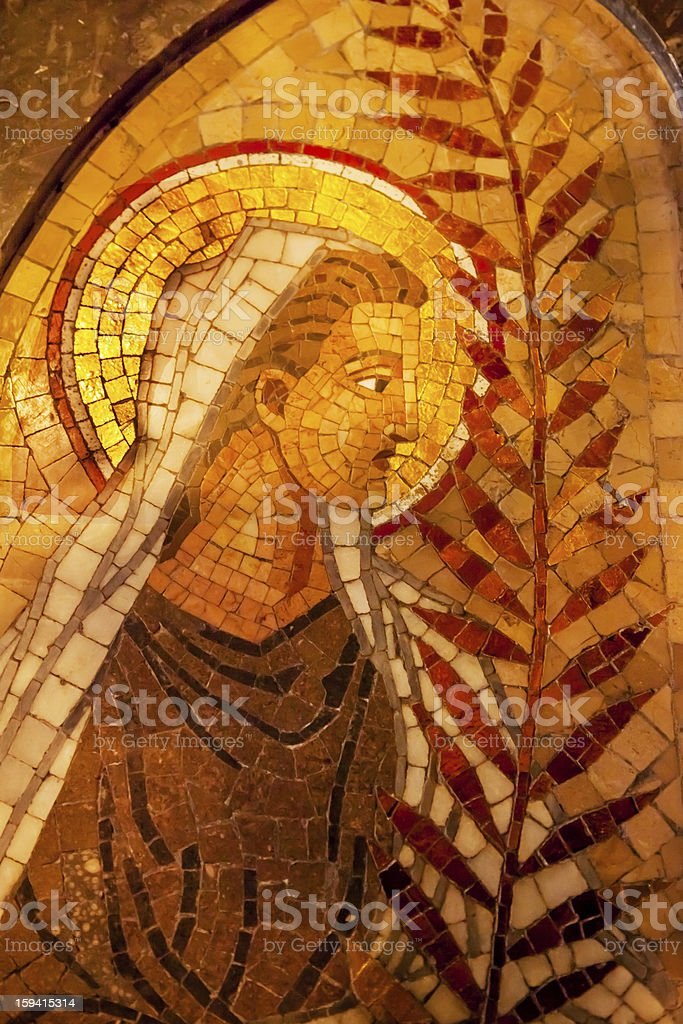 Angel Palm Frond Mosaic Monestir Monastery Montserrat Catalonia Spain stock photo
