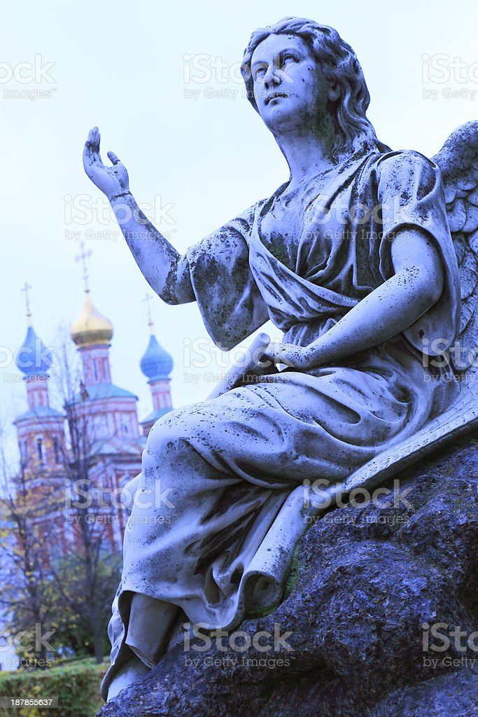Angel praying at Novodevichy Convent, Moscow, Russia stock photo