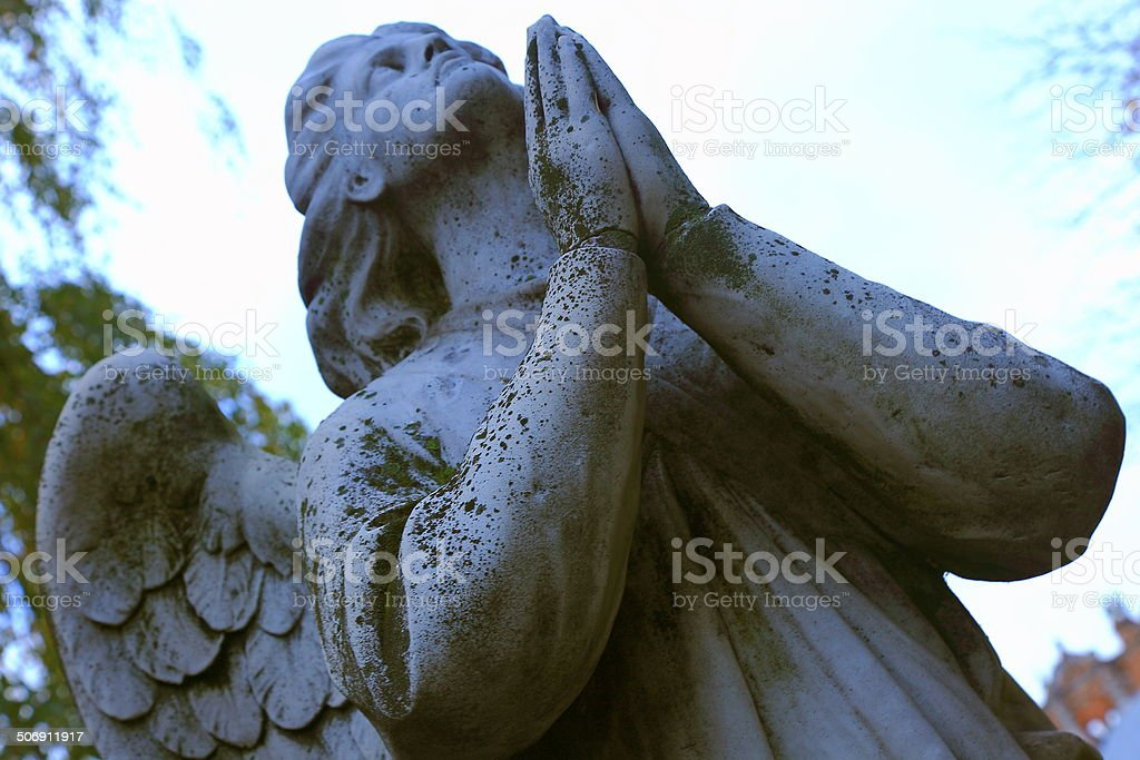 Angel praying at Novodevichy Convent - Moscow, Russia stock photo