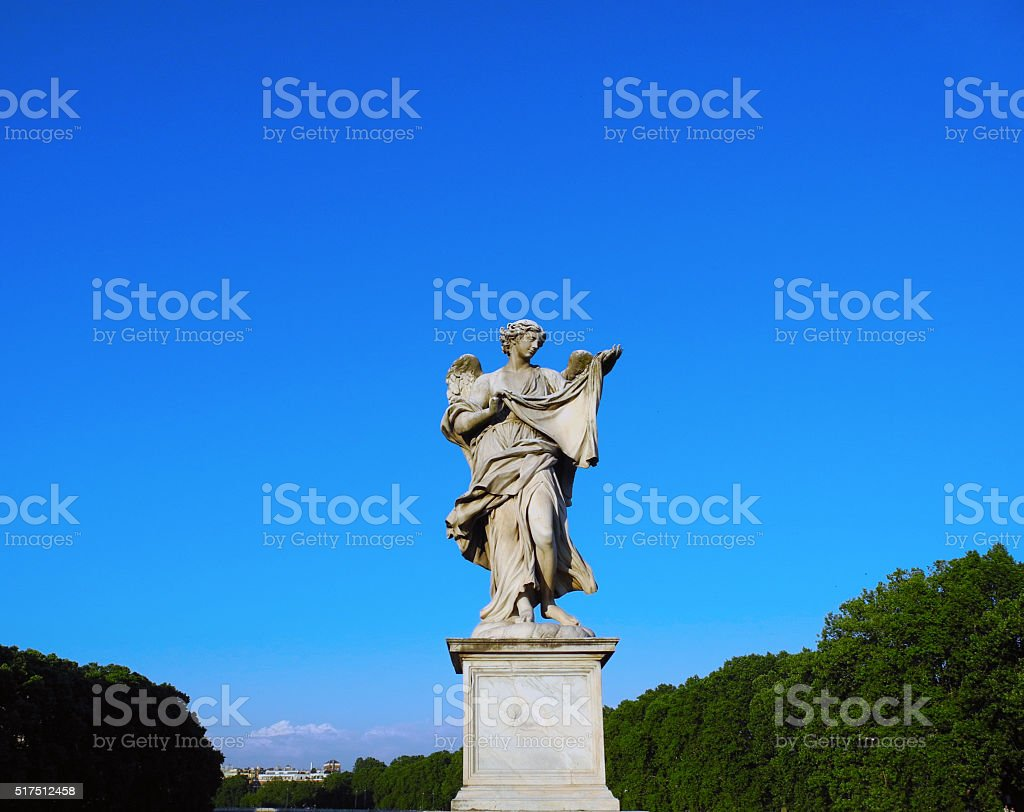 Angel Sculpture in Rome. stock photo