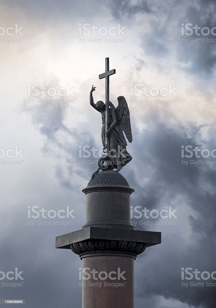 Angel sculpture on Alexander column. Palace square, St.Petersburg, Russia. stock photo