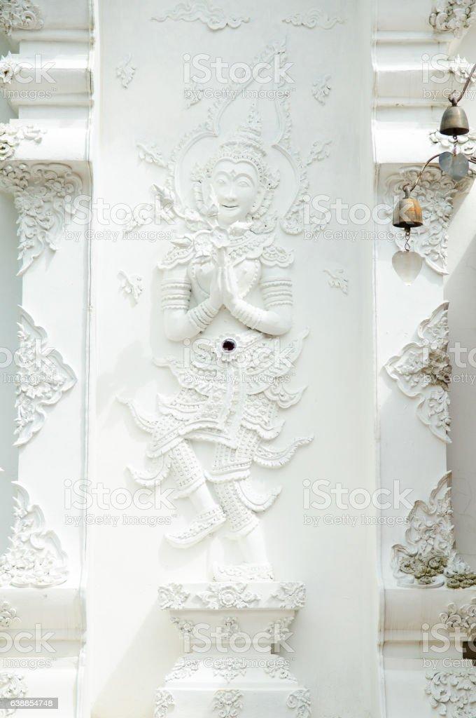 Angel sculptures in Wat Pha Dara Bhirom stock photo