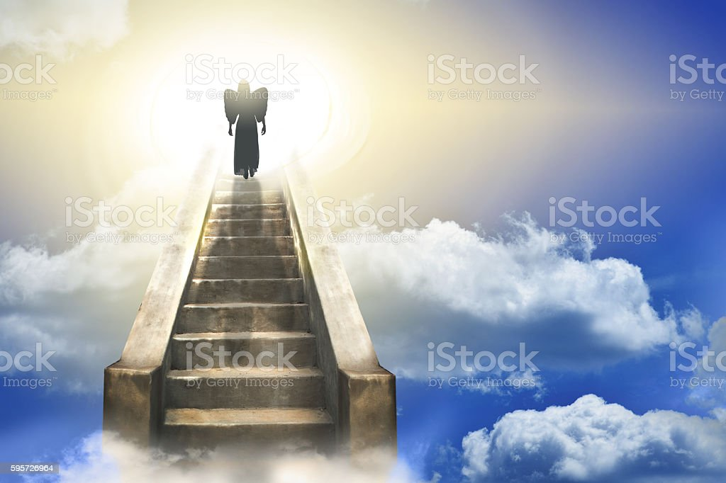 Angel Silhouette On A Stairway to Heaven stock photo