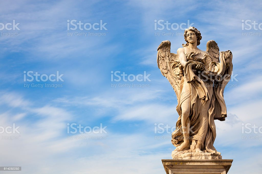 Angel statue along Sant'Angelo bridge in Rome stock photo