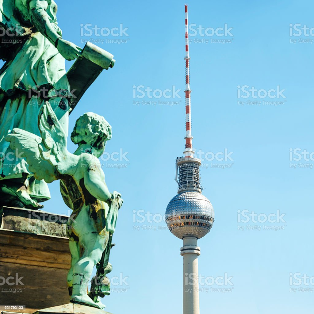 Angel Statue and Berlin TV Tower stock photo
