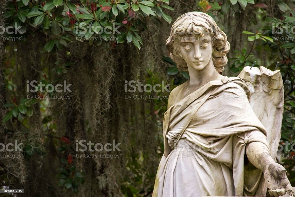 Angel Statue at Bonaventure Cemetery in Georgia stock photo
