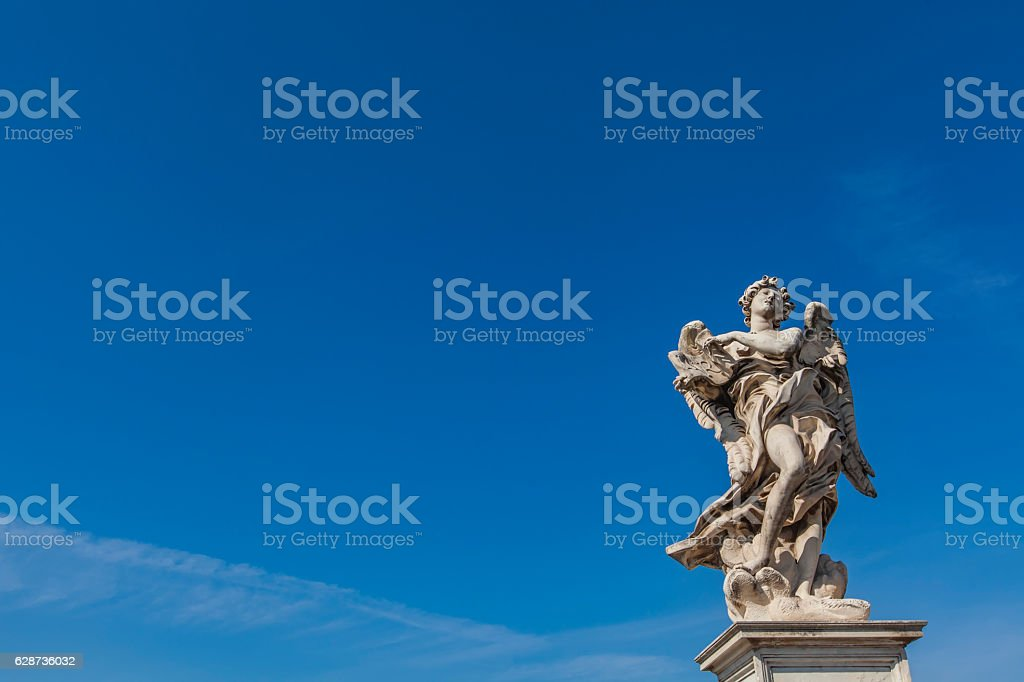 Angel statue at Sant Angelo Bridge in Rome stock photo
