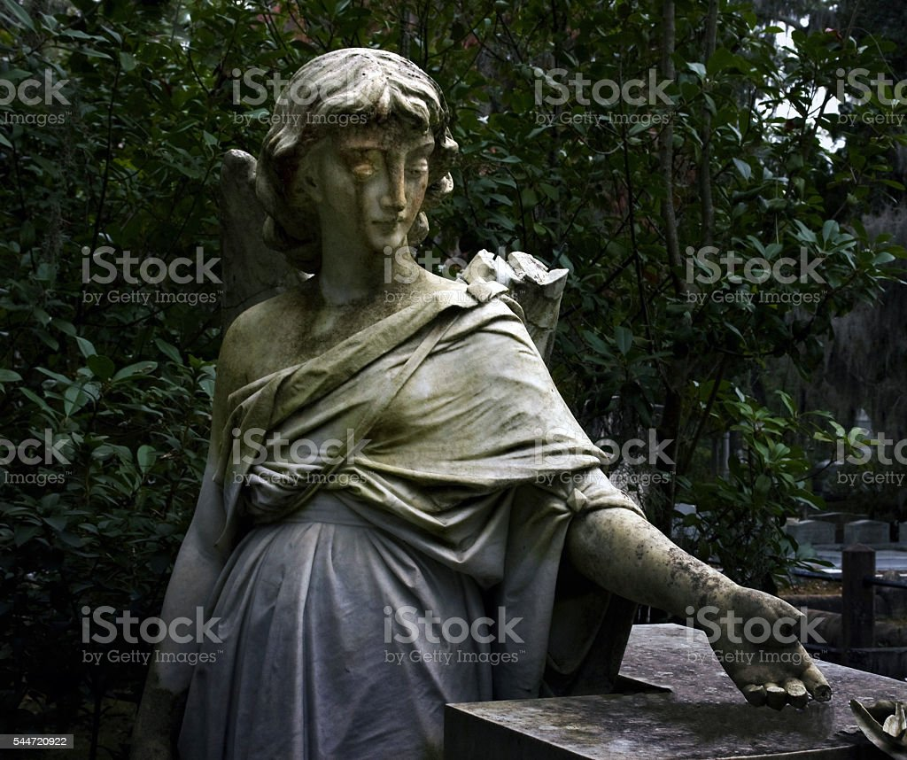 Angel Statue in Bonaventure Cemetery in Savannah, Georgia stock photo
