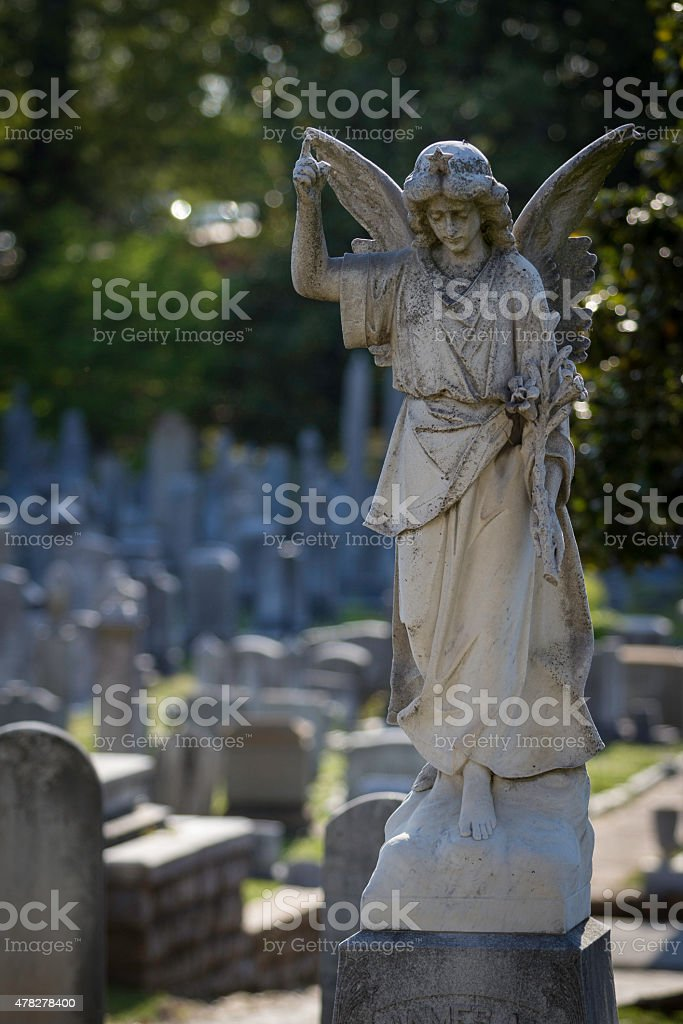Angel Statue in Cemetery stock photo