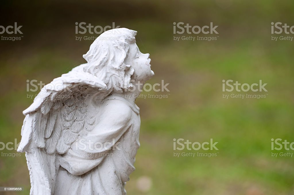 Angel statue in nature place in soft light stock photo