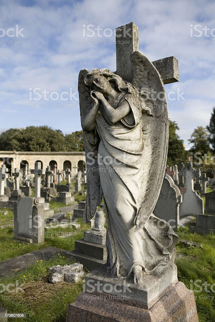 Angel Statue in Old Cemetery London royalty-free stock photo