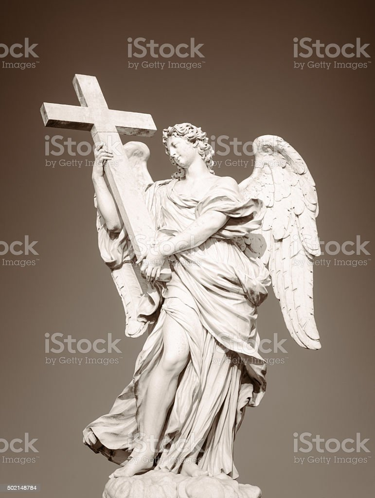 Angel statue in Rome - Toned monochrome image stock photo