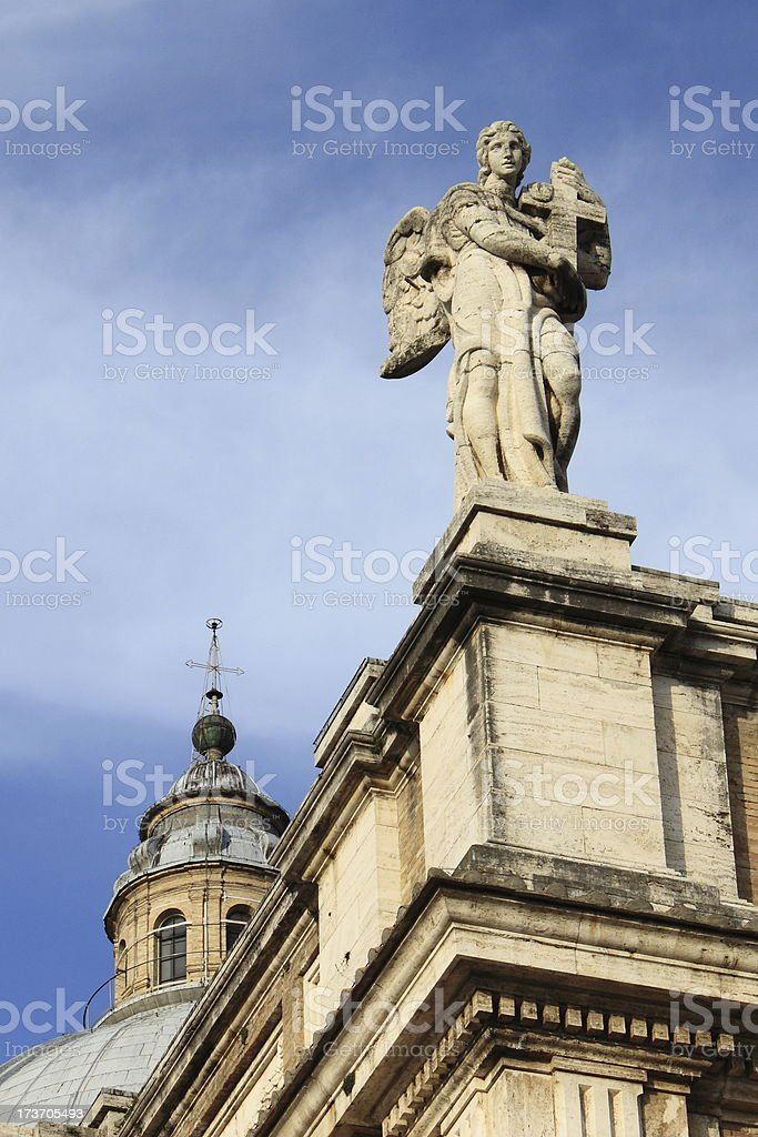 Angel statue in St. Mary of Angels Basilica stock photo