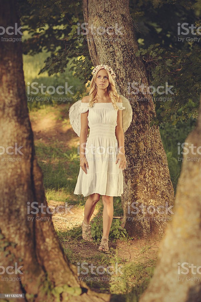 Angel walk through forest royalty-free stock photo