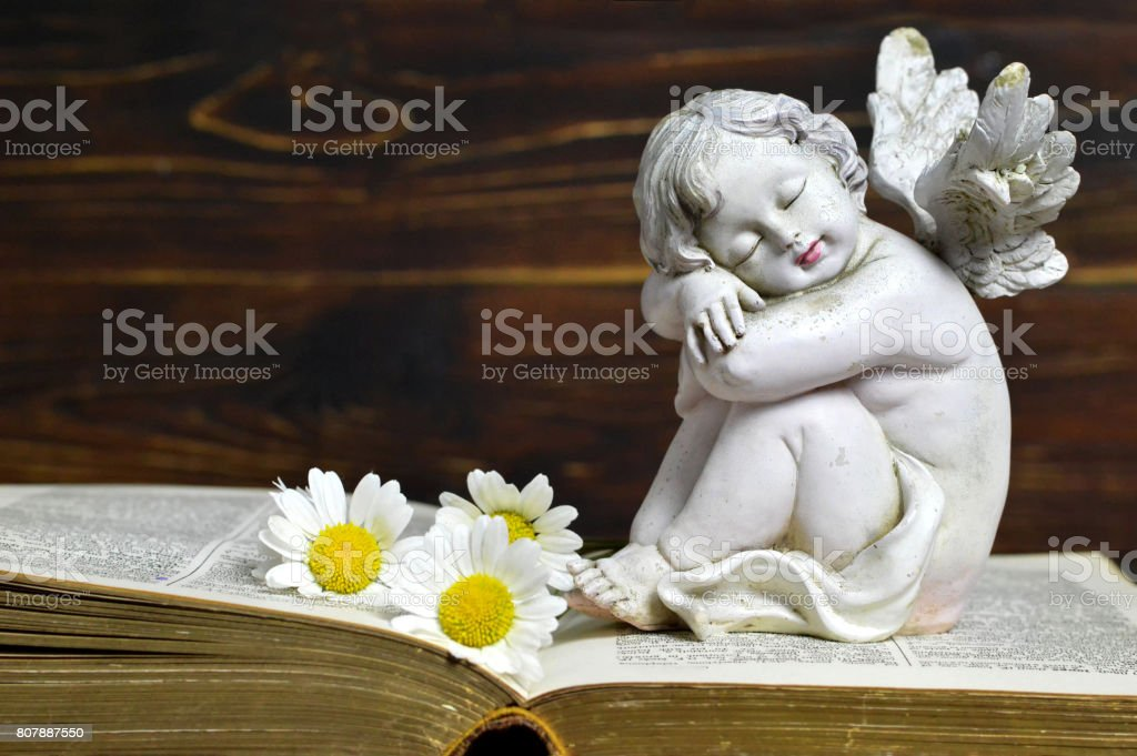 Angel, white flowers and book on wooden background stock photo