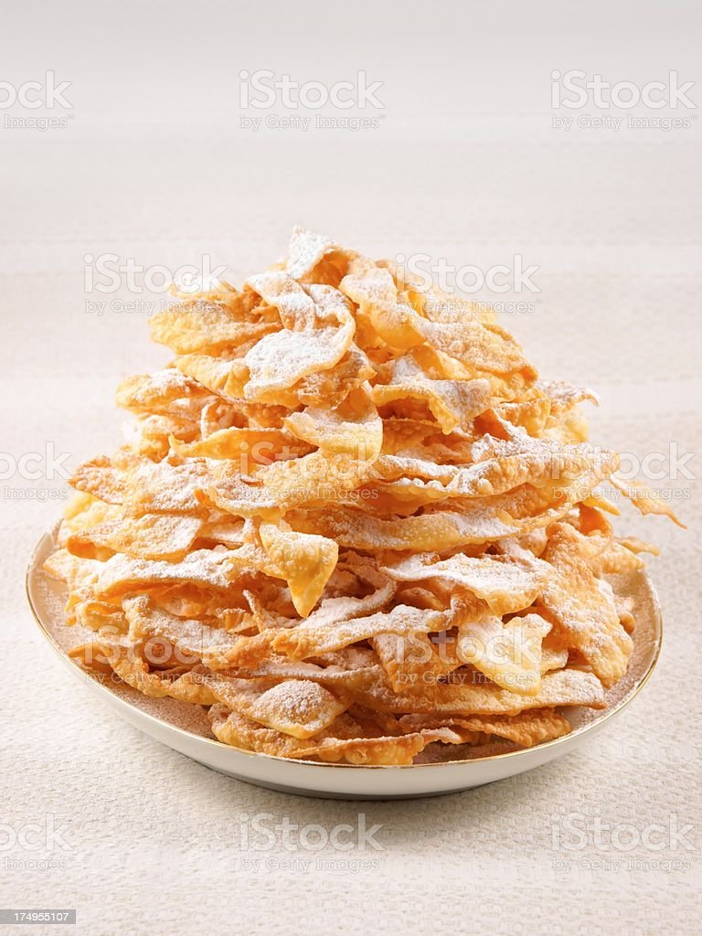 Angel wings, cakes deep-fried in oil to celebrate Fat Thursday royalty-free stock photo
