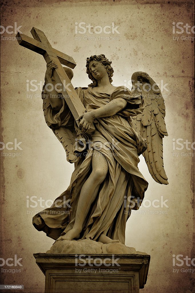 angel with a cross stock photo