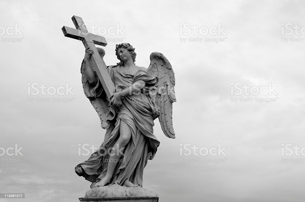 Angel with Cross on Ponte Sant Angelo royalty-free stock photo