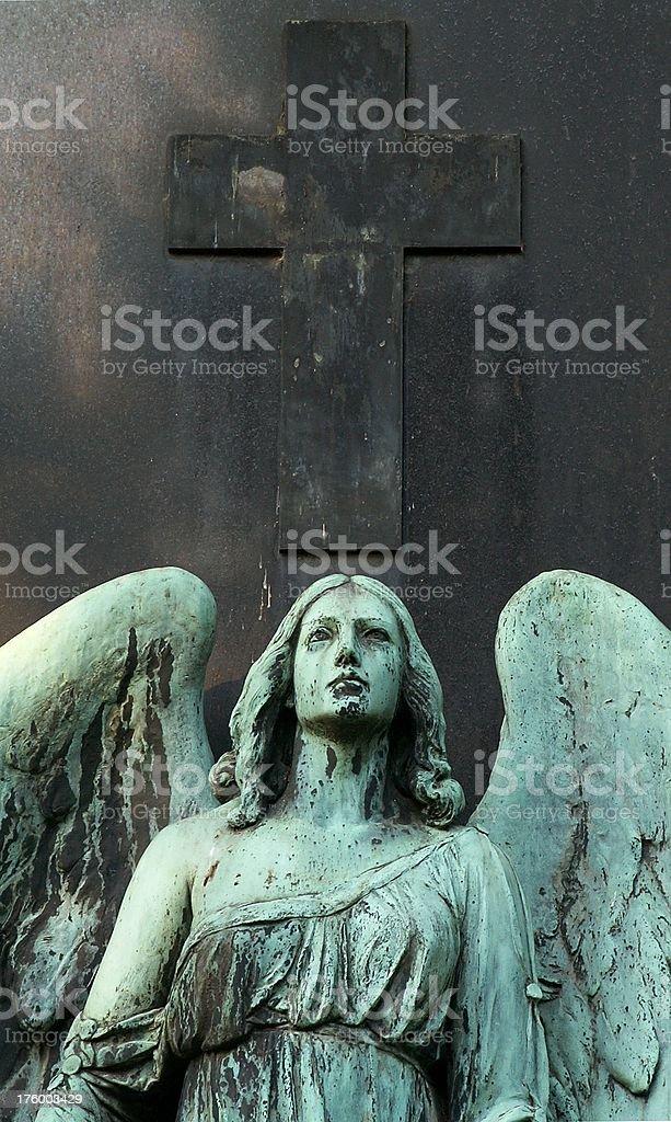 angel with cross stock photo