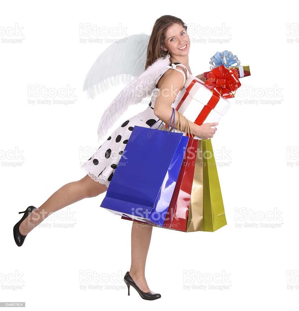 Angel with gift bag and box. stock photo