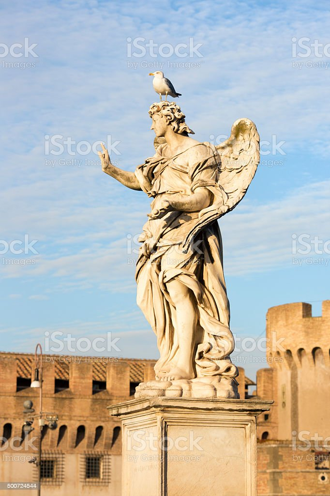 Angel with Seagull on Ponte Sant'Angelo in Rome, Italy stock photo