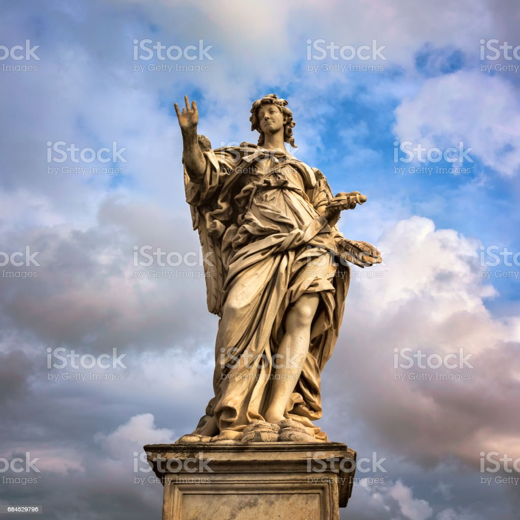 Angel with the Nails on Aelian Bridge in Rome, Italy stock photo