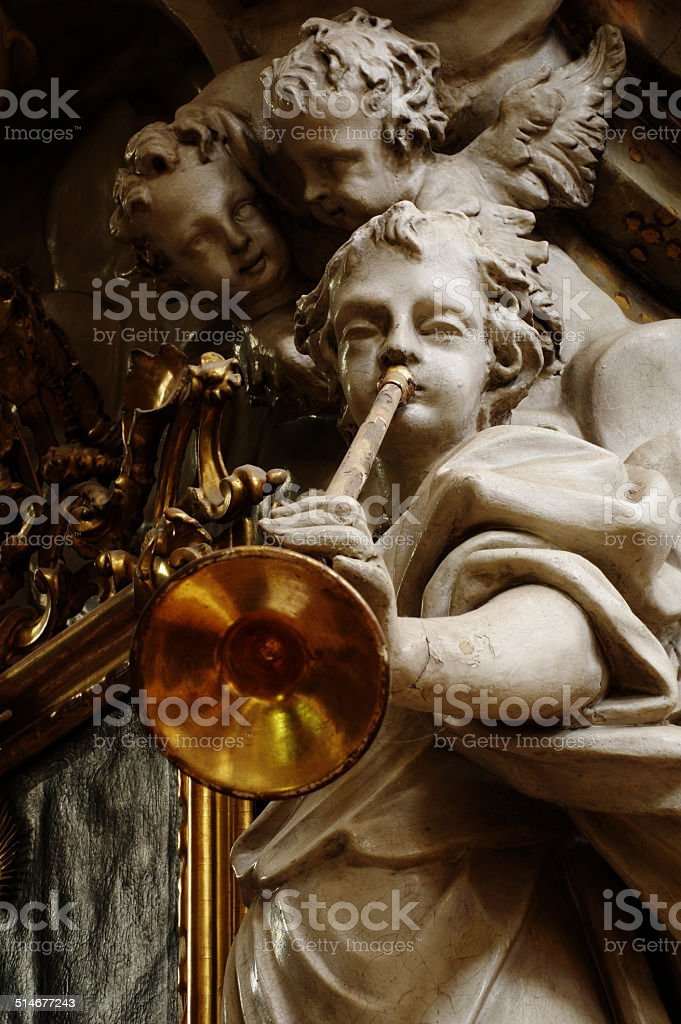 angel with the trumpet stock photo