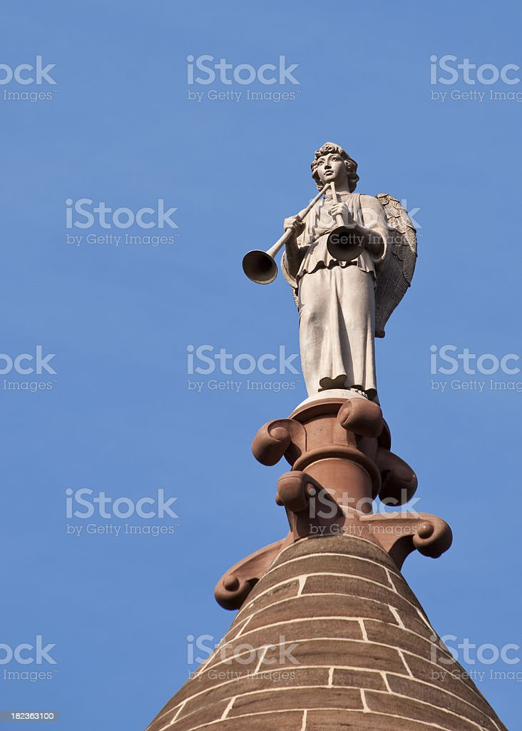Angel with Trumpets Atop Hartford Soldiers and Sailors Memorial Arch stock photo