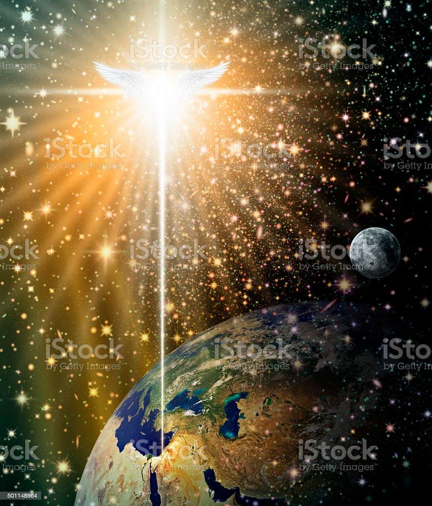 Angelic Star over Bethlehem stock photo