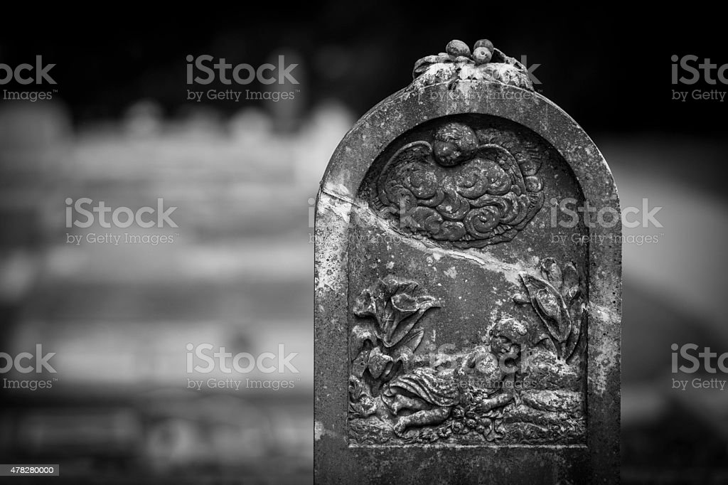 Angels on Tombstone stock photo