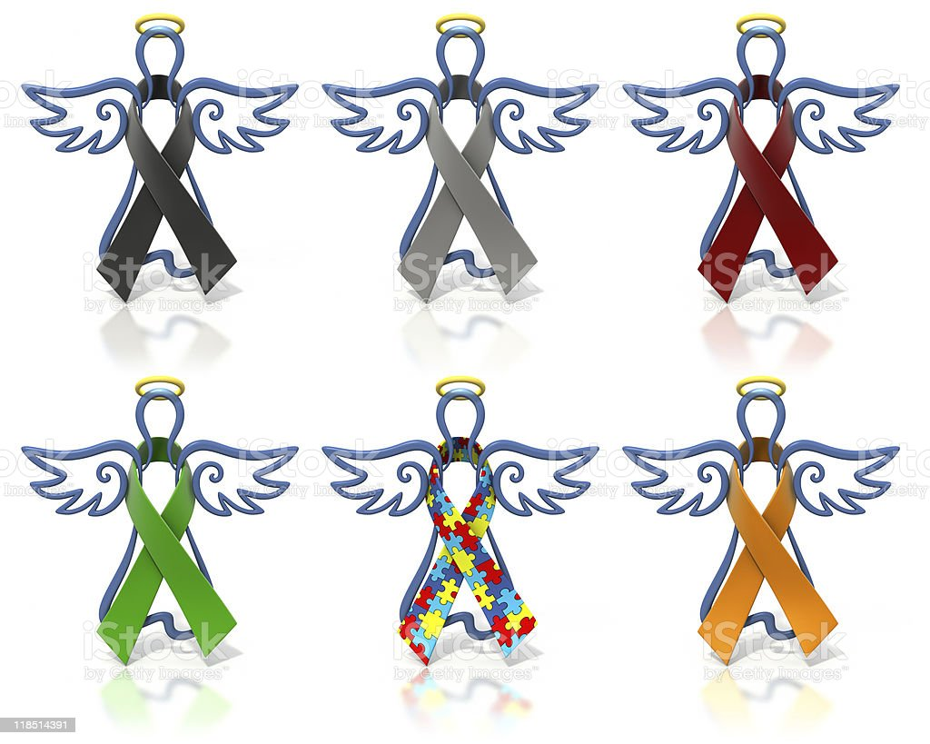 Angels outline awareness ribbons stock photo