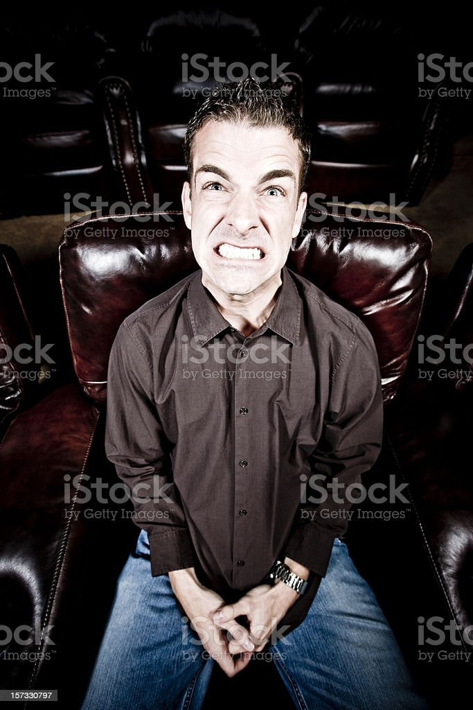 Anger and Hate, watching a Movie royalty-free stock photo