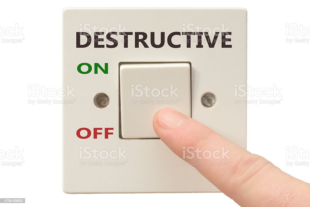 Anger management, switch off Destructive stock photo