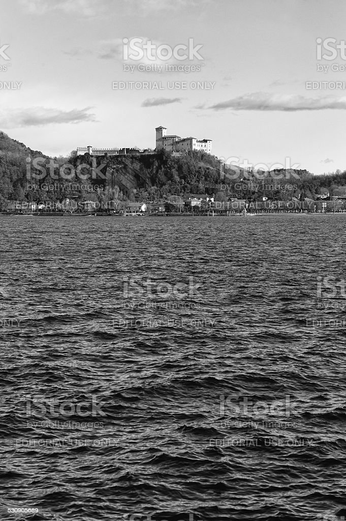 Angera Castle. Black and White stock photo