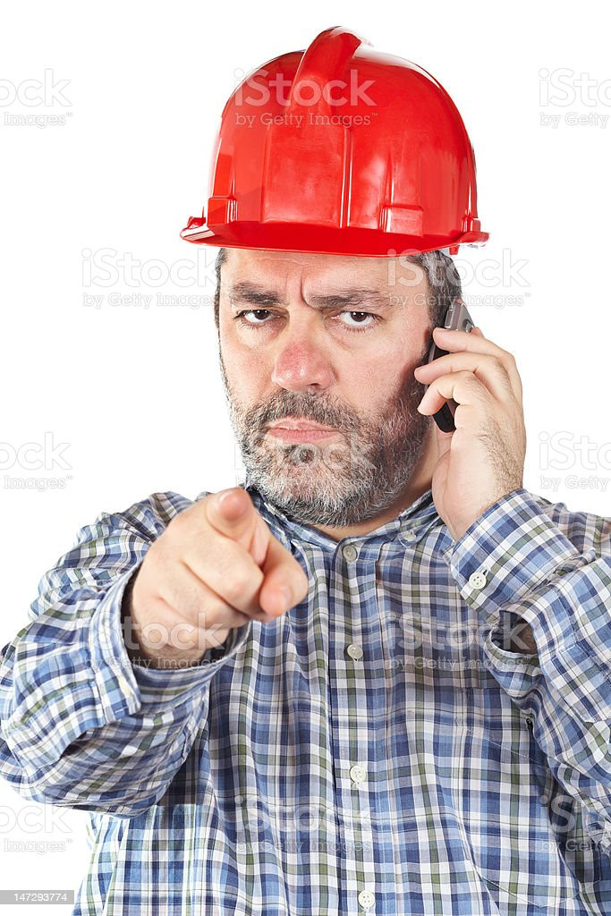 Angered construction worker royalty-free stock photo
