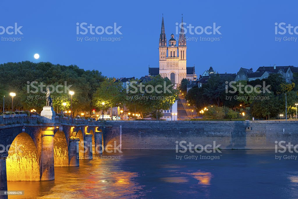 Angers at a summer night stock photo