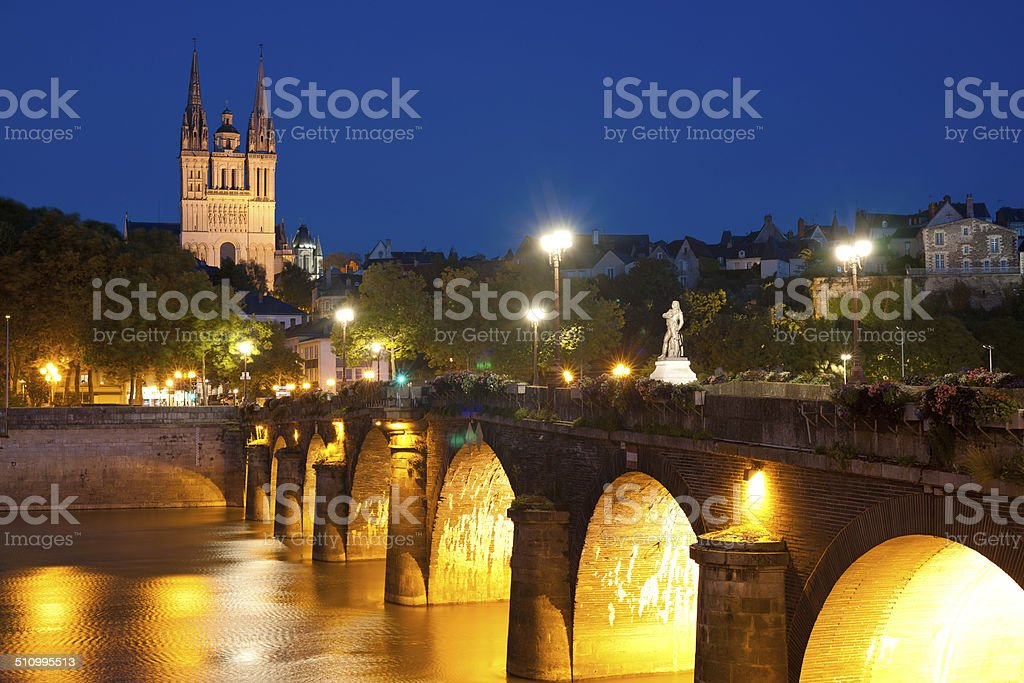 Angers at night stock photo