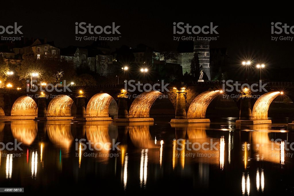 Angers by night stock photo