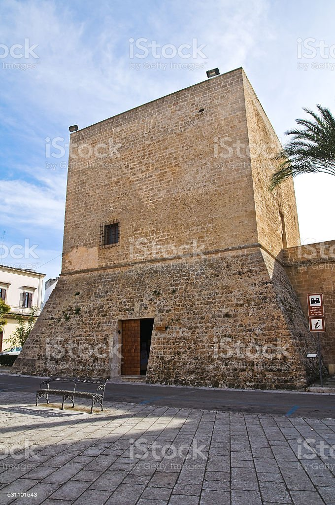 Angevin tower. Galatone. Puglia. Italy. stock photo