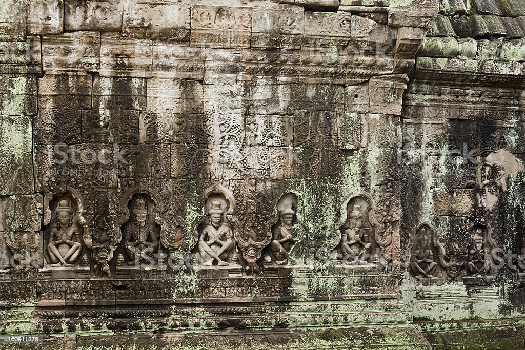 Angkor, Bas-relief  of Preah Khan temple, Siem Reap, Cambodia stock photo