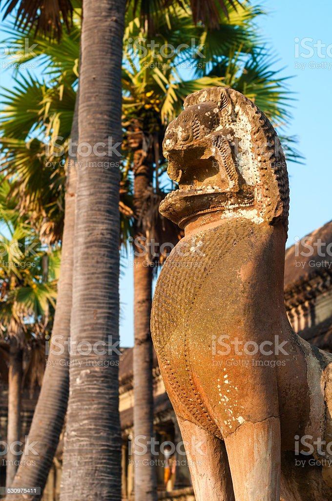 Angkor lion statue stock photo