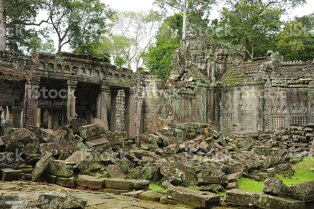Angkor Preah Khan Temple of Angkor Thom in Cambodia royalty-free stock photo