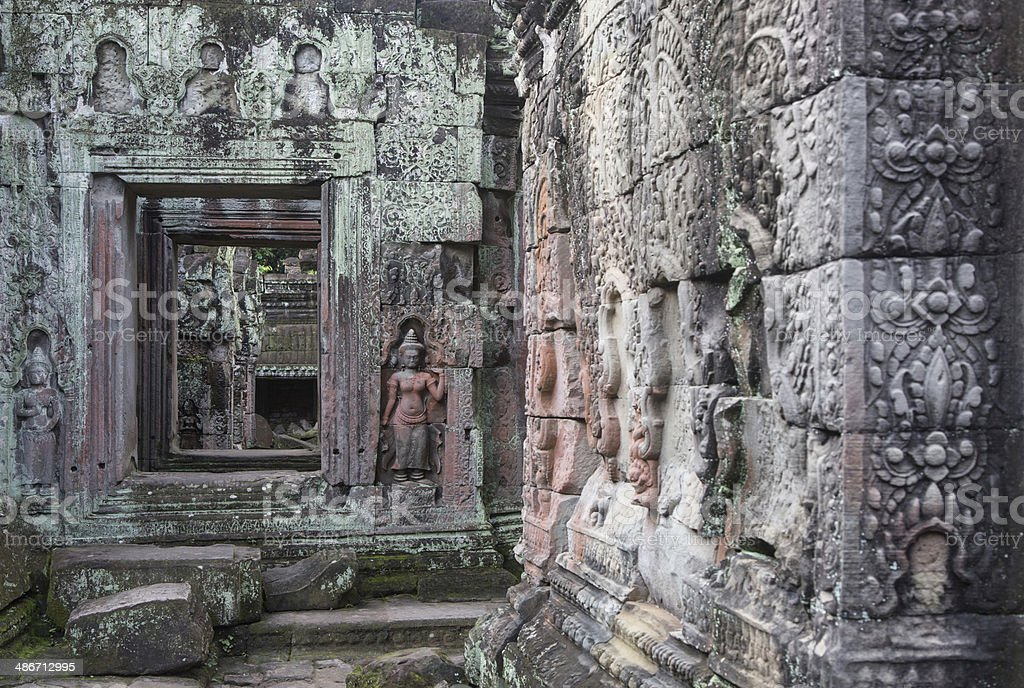 Angkor temples wall royalty-free stock photo