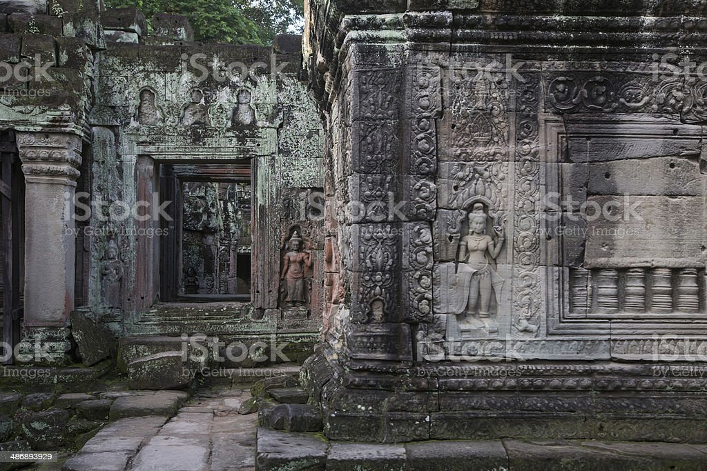 Angkor temple's wall royalty-free stock photo